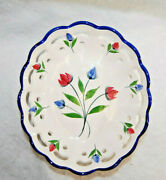 Rccl Ceramic Oval Lattice Bowl Made In Portugal Hand Painted Floral S9709