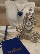 Exquisite Sapphire Faberge Egg And Titanic Necklace And Bracelet Silver Wedding Gift