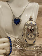 Wedding Gift Faberge Egg Sapphire Tennis Bracelet And Titanic Silver Necklace 12ct