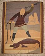 Vintage Grenfell Hooked Rug Mat Snowy Canadian Seal Hunting Scene Retains Label