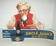 Vintage Die Cut Advertising Stand Up Display Uncle Johnand039s Syrup W/syrup Bottle