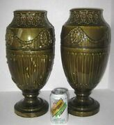 Large Antique Neoclassical Green Aventurine Rookwood Pottery Vases Lamp Bases