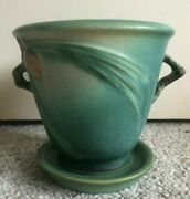 Vintage Roseville Art Pottery Green Pinecone Flowerpot And Saucer 633-5