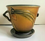 Vintage Roseville Art Pottery Brown Pinecone Flowerpot And Saucer 633-5