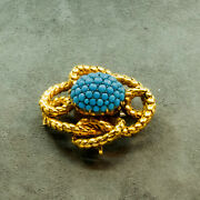 Victorian 18k Yellow Gold Turquoise Bead Brooch P1200