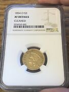 1854-o 3 Princess Gold Piece Scarce New Orleans Mint Ngc Certified Xf Details