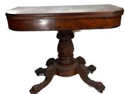 Antique Game Table Deep Relief Hand Carved Pedestal And Legs Mahogany Wood