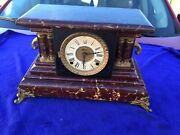 Vintage Wooden Ornated Mantle Clock Untested No Key All Internal Moving Parts