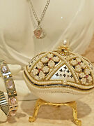 Sweet 16 Gifts For Girls Pink Faberge Egg Music Box And Necklace And Bracelet Silver