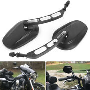 Pair Oval Motorcycle Parts Rearview Custom Mirrors For Harley Iron 883 2009-2014