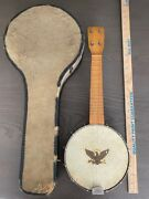 Antique Vintage Banjo Ukulele And Case Eagle Sold As Is Needs Repair Decor P01