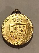 1787 Gold Uk George Iii Guinea Coin, Blood Stone Locket, Weighs 13.6 Grams