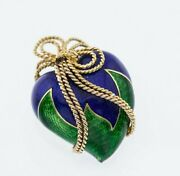Vintage And Co 18k Yellow Gold Green Blue Enamel Heart Brooch