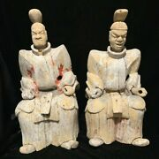 Pair Of Huge 17th Century Fierce Japanese Wooden Temple Guardians