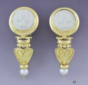 Gorgeous Pair 18k Gold Carved Cameo Of A Pretty Woman Earrings