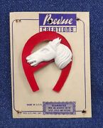 1940s Red Horseshoe Horse Head Brooch Jewelry Pin Hard Plastic Prevue Creations