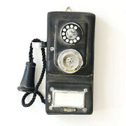 Antique Rotary Wall-mounted Pay Phone Model Vintage Booth Telephone Figurine Us