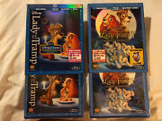 Lady And The Tramp 1 And 2 Scamp's Adv. Blu-ray/dvd, W/slipcovers+lithograph - New