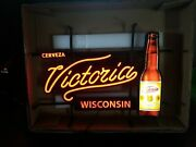 Victoria Beer Led Light Up Sign Wisconsin Bar Man Cave Game Room New