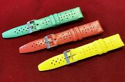 Vintage New Old Stock Diving Wrist Watch Straps 3 Green / Red / Yellow 19mm