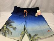 New Tommy Bahama Relax Menand039s Blue Palm Trees Swimming Board Shorts M Medium Nwt