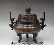 13andlsquoroyal Palace Old Red Copper Inlay Silver Silk Incense Burner Censer Monastery