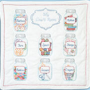 Stamped White Wall Or Lap Quilt 36x36-mason Jars, Jack Dempsey,part 739 626