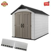 Large Storage Shed 7.5' X 11' Outdoor With Floor Sunlight And Lockable Doors Gray