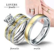 Couple Rings Women Exquisite Rhinestones Stainless Steel Ring For Lover Gifts