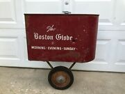 Boston Globe Newspaper Bicycle Paper Route Side Cart Red Metal Paper Holder..