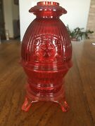 Viking Glass Ruby Red/orange Pot Belly Stove Fairy Lamp Candle Holder, Vtg