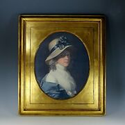 Large Antique Gold Leaf Portrait Picture Frame With Oval Print