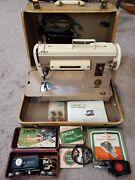 Vintage Singer 301a Sewing Machine W/case Manual Buttonholer Zigzagger And More