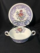 Copeland Spode Mayflower 2 Handle Cream Soup Bowl And Saucer Old Mark Vintage