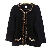 Chicos Womens 2 Black Textured Knit Cardigan Sweater Lace And Leopard Ruffle Trim