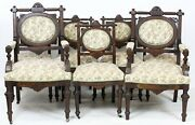 Antique Dining Chairs Set Of Seven Upholstered Victorian Chair Walnut 1800s