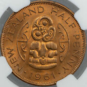 1961 New Zealand 1/2 Half Penny Ngc Ms65rb Finest Known Worldwide Gem Unc