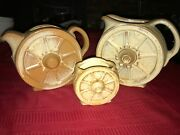 3 Frankoma Pottery 94d 94t Wagon Wheel Pitcher And Teapot Desert Gold/sand Brown