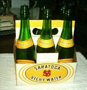 Vintage 6 Pack Green 12 Oz Bottles Saratoga Vichy Water-labels And Carton Intact