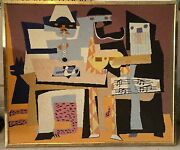 """""""the Three Musicians"""" By Pablo Picasso Woven Fabric Art Framed, L50"""" X W42"""""""