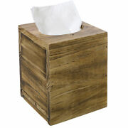 Distressed Honey Brown Square Tissue Box Cover Slide-out Bottom Panel