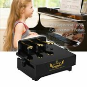 3 Pedals Adjustable Height Black Piano Pedal Extender Bench For Kids Beginners