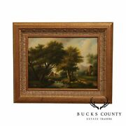 T. Williams Oil Painting On Canvas Landscape With Sheep And Cows
