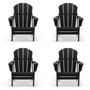 Folding Adirondack Chair Weather Wood Uv Resistant Set Of 4 Outdoor Patio New