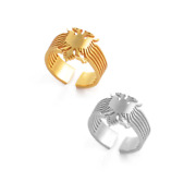 Gold Platinum Plated Albania Eagle Ring Women Girl Gift Trendy Fashion Jewellery