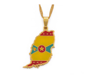 Gold Plated Necklace Grenada Island Map Flag Pendant Water Wave Chain Jewelry