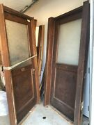 2 Antique Oak Office/school Doors With Glass Panels Trim/casings And Frames