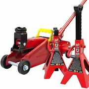 Big Red Torin Hydraulic Trolley Floor Jack Combo With 2 Jack Stands 2 Ton Capac