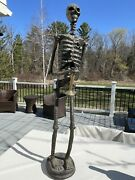 Vintage 3 Foot Long Day Of The Dead Paper Mache Skeleton With Black Rose Gothic