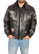 Mens Pilot Leather Jacket Heavy Duty Brown Bomber Aviator With Collar Badges New